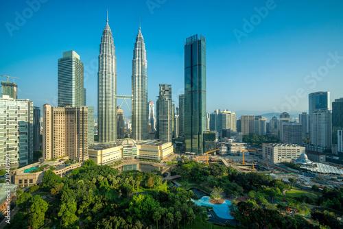 Canvas Prints Kuala Lumpur Cityscape of Kuala Lumpur Panorama at sunrise. Panoramic image of skyscraper at Kuala Lumpur, Malaysia skyline with blue sky.