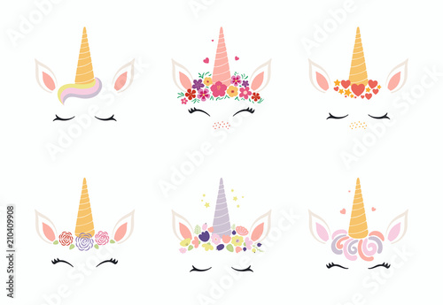 Poster Des Illustrations Set of different cute funny unicorn face cake decorations. Isolated objects on white background. Flat style design. Concept for children print.
