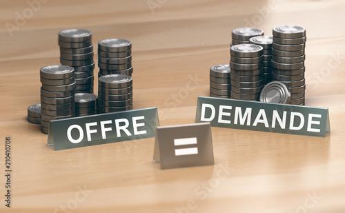 Fotografie, Obraz  Economie, loi de l'offre et de la demande. Stabilité des prix.