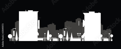 Vector city silhouette. Cityscape background. Illustration of architectural building in panoramic view. Modern city skyline. Big city streets. minimalistic style.