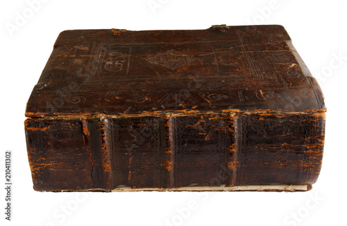 old religion book, hymnal, isolated on white background Canvas Print