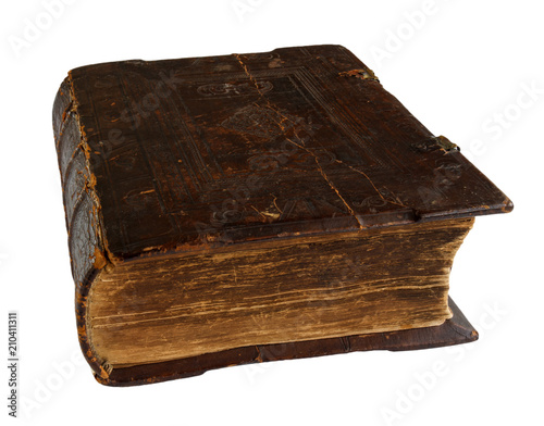 Fotografija  old religion book, hymnal, isolated on white background