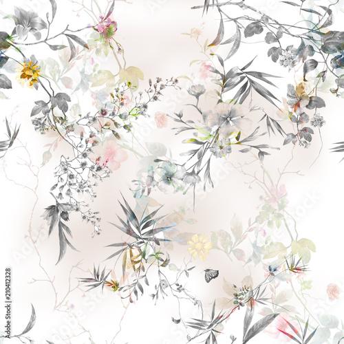 akwarela-obraz-lisc-i-kwiaty-bezszwowy