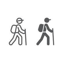 Hiking Line And Glyph Icon, Travel And Tourism, Tourist Backpacker Sign Vector Graphics, A Linear Pattern On A White Background, Eps 10.