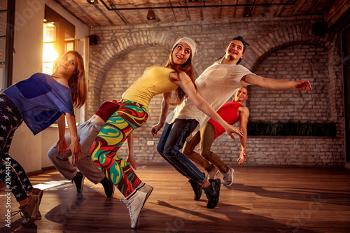 Passion dance team - urban hip hop dancer exercising dance training in studio