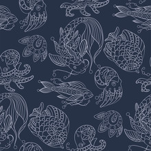Seamless Pattern In Marine Themes With Wild Sea Animals And Fishes In Ornamental Graphic Vector Illustratio