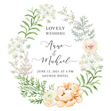 Forest Green Leaves Blush Pink Flowers Oval Wreath. Wedding Greenery Frame. Peony, Fern. Vector Illustration. Floral Arrangement. Design Template Greeting Card. Invitation Background.