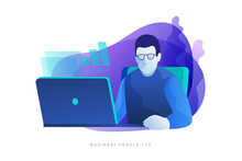 Concept Of Work In Office. Businessman In Glasses Analyzes Data Of Work On Open Laptop. Modern Vector Illustration Flat Style.