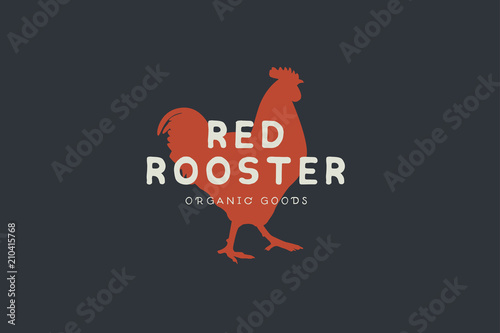 Fotografía Logo template with hand drawn silhouette of red rooster in vintage style on dark background