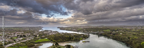Aerial view of Telford's Suspension Bridge Across The Menai Starights - Wales, UK