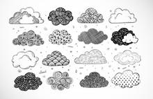 Set Of Doodle Sketch Clouds On...