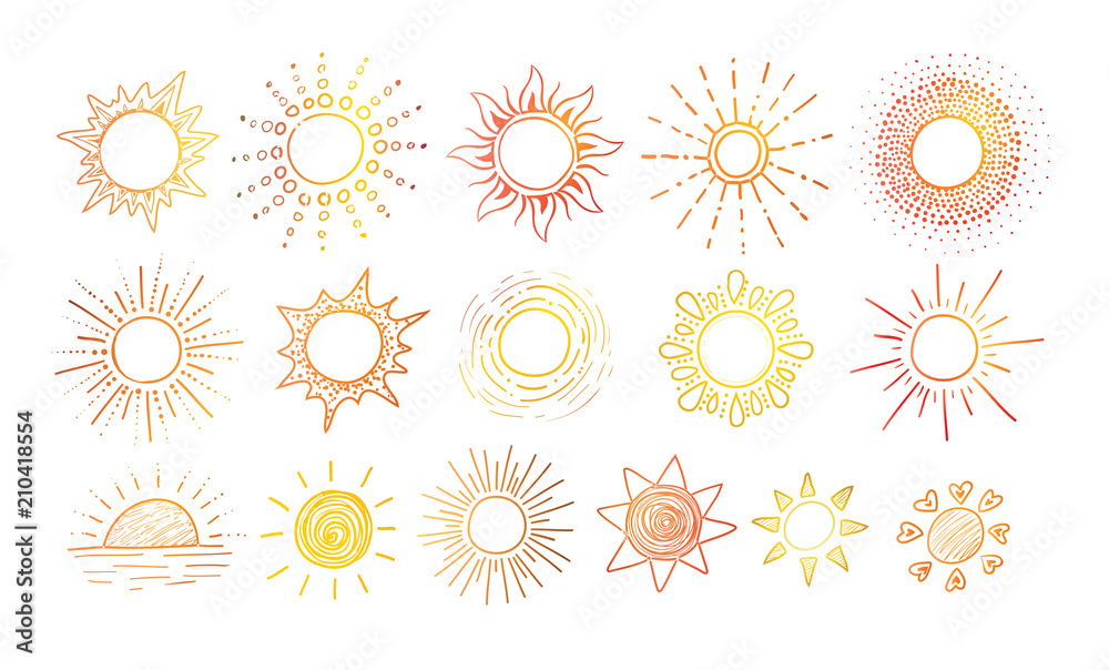Fototapety, obrazy: Colored Doodle sketches of sun on white background