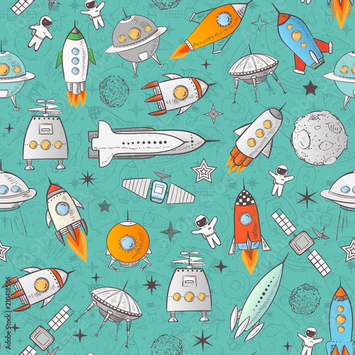 Tapety do pokoju chłopca  seamless-pattern-with-space-rockets-and-other-elements-on-blue-can-be-used-for-wallpaper-pattern-fills-textile-web-page-background-surface-textures