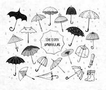 Set Of Doodle Sketch Umbrellas...