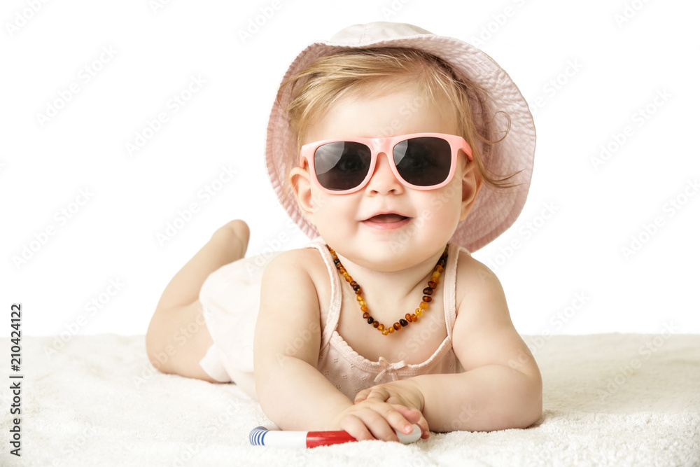 Fototapety, obrazy:  Studio portrait of adorable baby girl wearing pink plastic sunglasses, isolated on the white background, summer vacation concept