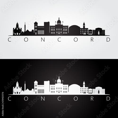 Concord, USA skyline and landmarks silhouette, black and white design, vector illustration Fototapet