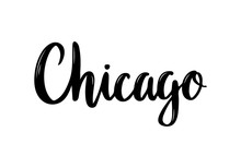 Chicago Hand-lettering Calligraphy. Hand Drawn Brush Calligraphy. City Lettering Design. Vector Illustration.