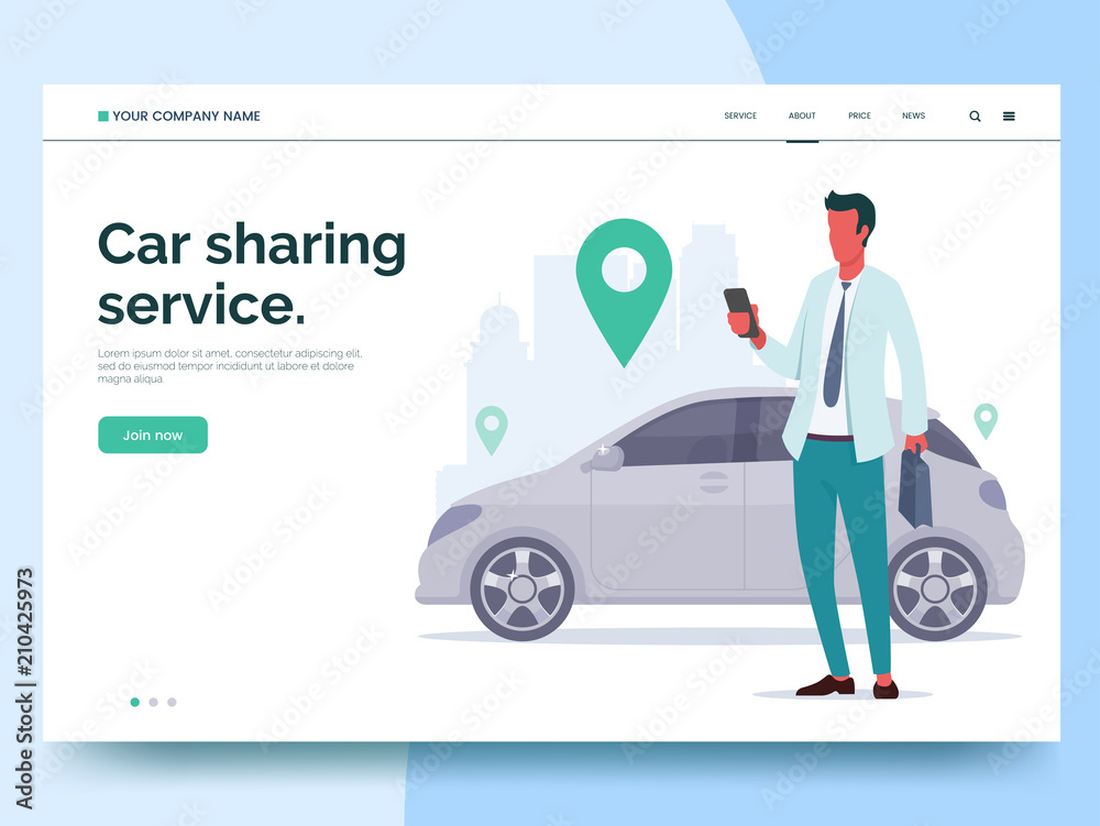 Fototapeta Car sharing service advertising web page template. A man with a smartphone standing near the car. Modern landing page for mobile app with colorful illustration. Business website concept. Eps 10.