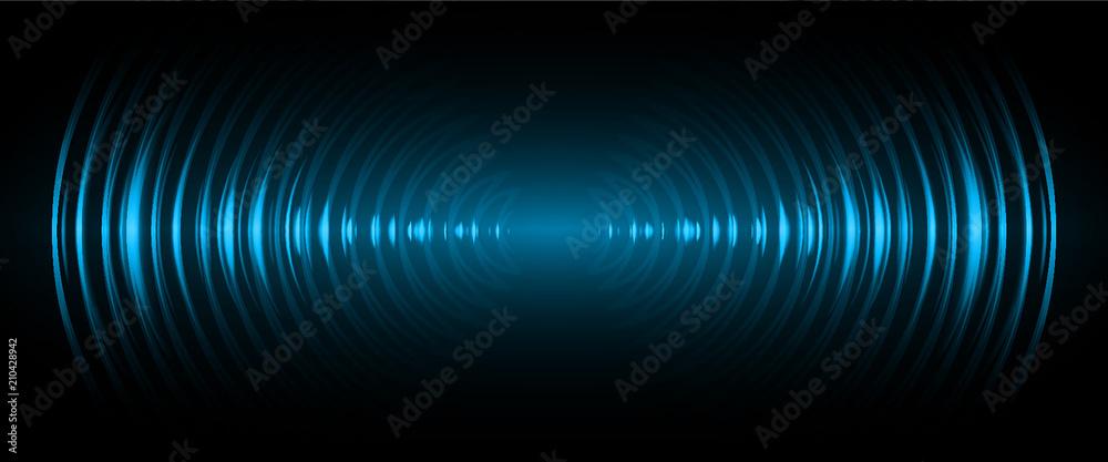 Fototapeta Sound waves oscillating dark blue light, Abstract technology background. Vector.