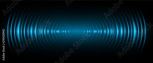 Fototapeta Sound waves oscillating dark blue light, Abstract technology background. Vector. obraz