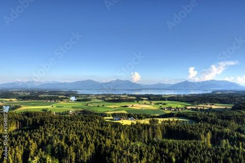 Fotografie, Obraz  See, Chiemsee, Chiemgau, Oberbayern, Seenplatte, See, Prien, Seebruck, Alz, Dorf
