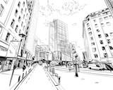 Fototapeta Miasto - Wellington. New Zealand. Hand drawn city sketch. Vector illustration.