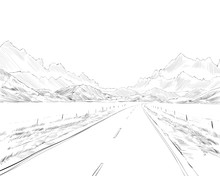 New Zealand.Road Among The Mountains. Beautiful Landscape. Hand Drawn Vector Illustration.