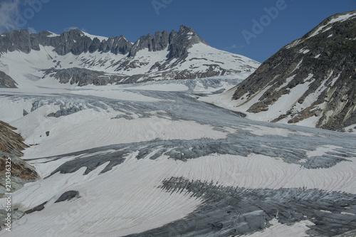 In de dag Gletsjers Rhonegletscher am Furkapass, Wallis, Schweiz