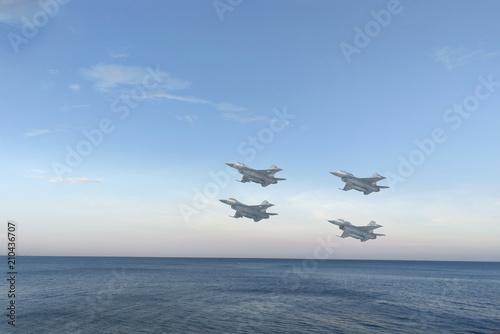 Photo  Gripen aircraft over the horizon.