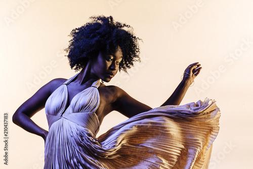 Fotografie, Obraz  Portrait of a beautiful  young woman in an elegant fancy dress that seems to flo
