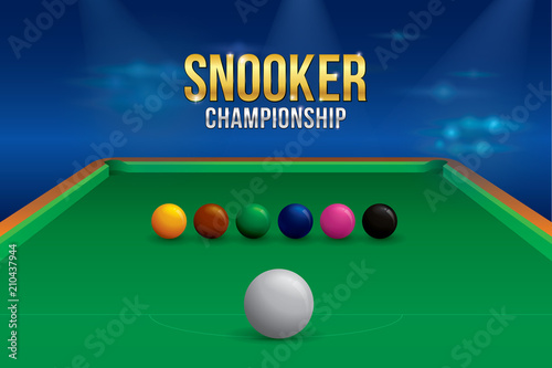 Vector of snooker championship with balls and green snooker