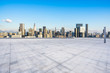 panoramic city skyline with empty square