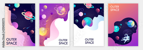 set of banner templates. universe. space trip. design. vector illustration - 210438575