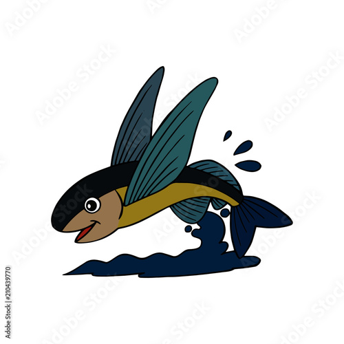Flying Fish cartoon illustration isolated on white background for children color Canvas Print
