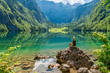 canvas print picture - Frau macht Yoga am Obersee beim Königssee
