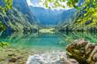 Leinwandbild Motiv Blick auf den Obersee beim Königssee in Berchtesgaden