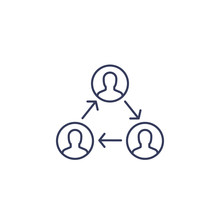 People Interacting, Team Interaction, Line Icon