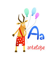 Cute Children Zoo Alphabet A Letter Of Antelope For Kids Learning English Vocabulary.