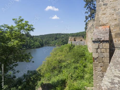 view from rampart of medieval castle Zvikov (Klingenberg), stone wall, vltava ri Poster