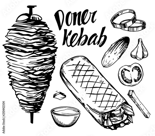 Fototapeta Doner kebab. Hand drawn sketch converted to vector