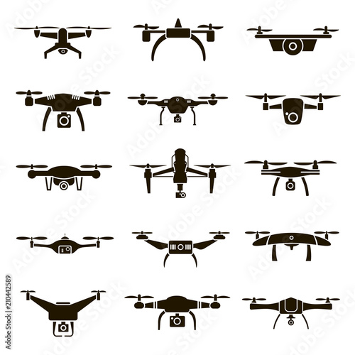 15 black and white drones icons Wall mural