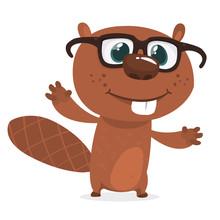 Happy Cartoon Beaver Wearing E...