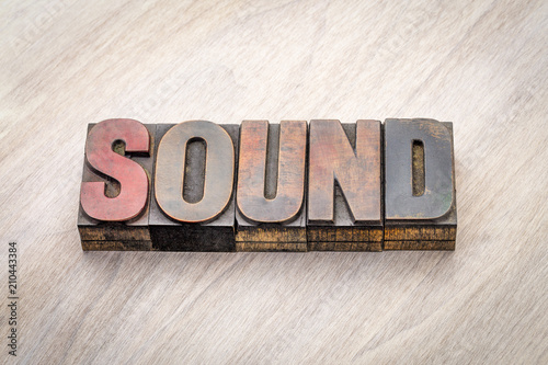 sound word abstract in wood type Fototapet