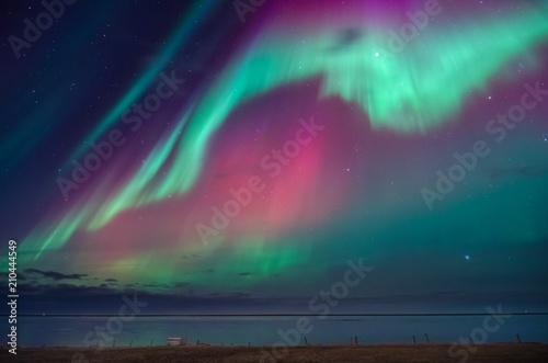 Keuken foto achterwand Noorderlicht Colorful northern lights over iceland sky