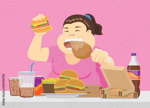 Fotografie, Obraz  Fat woman enjoy with a lot of fast food on the table