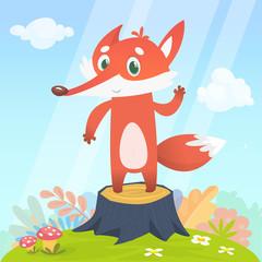Happy cartoon fox character...