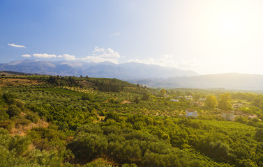 picturesque plateau in Greece on the island of Crete with setting sun
