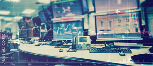 Valokuva  Double exposure of business stock trading room with computer and graph for Busin