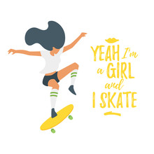 Flat Style  Skater Silhouette