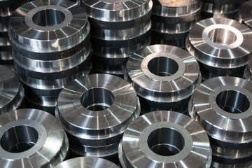 Metal steel parts made on a lathe machine